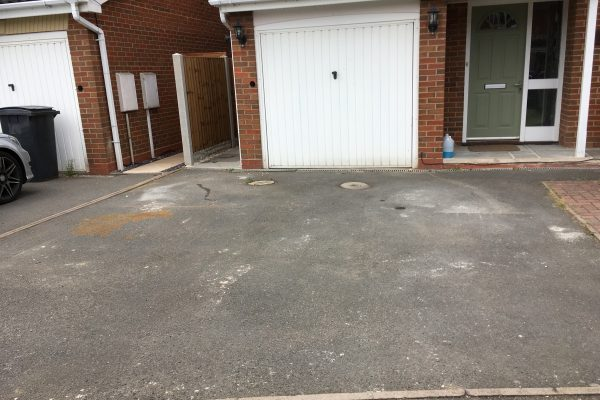 Driveway prior to cleaning and coating